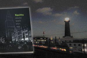 Peter Rosenthal neues Buch – vor dem Ehrenfelder Heliosturm bei Nacht.